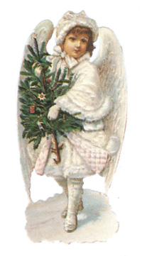 Engel mit Christbaum, Oblate