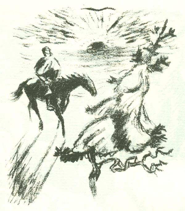 gemälde mann pferd schwert